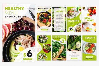 Free Healthy Food Instagram Stories Set Template in PSD