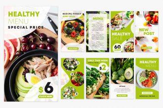 Free Healthy Food Instagram Stories Set Template in PSD