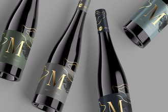 Free Wine Bottle Mockup Set in PSD