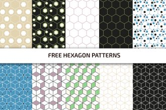 Free Hexagon Pattern Set Template in PSD + AI, EPS