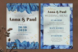 Free Wedding Invitation design Template in PSD + Vector (.ai+.eps)