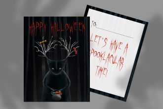 Free Happy Halloween Postcard Template in PSD