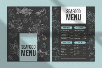 Free Seafood menu template in PSD + Vector (.ai+.eps)