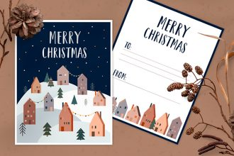 Free Christmas Postcard Template in PSD + Vector (.ai+.eps)