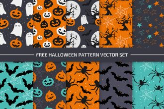 Free Halloween Pattern Set in EPS + PSD