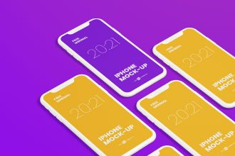 Free Minimal iPhone Mockups in PSD