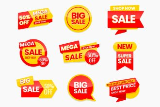 Free Sale Stickers in PSD + EPS