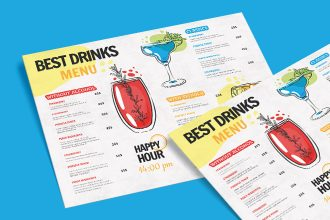 Free Drinks Menu Templates in PSD + Vector (.ai+.eps)