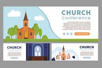Free Church Facebook cover Set Template in PSD + Vector (.ai)