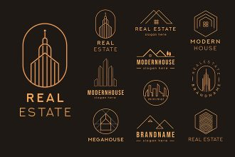 Free Real Estate Logo set Template in PSD + Vector (.ai+.eps)