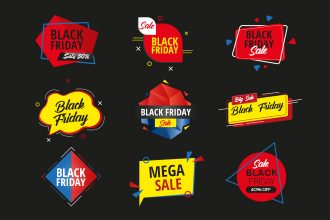 Free black Friday stickers set Template in PSD + Vector (.ai+.eps)