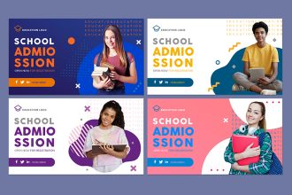 Free Education Banners Set Template in PSD