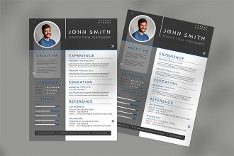 Free Professional Resume Template in PSD + Vector (.ai, .eps)