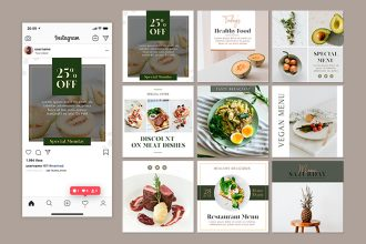 Free Restaurant Instagram Posts in PSD + Vector (.ai)