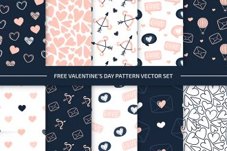 Free Valentine's Day Pattern Set in EPS + PSD