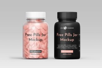 Free Pills Jar Mockup Template in PSD