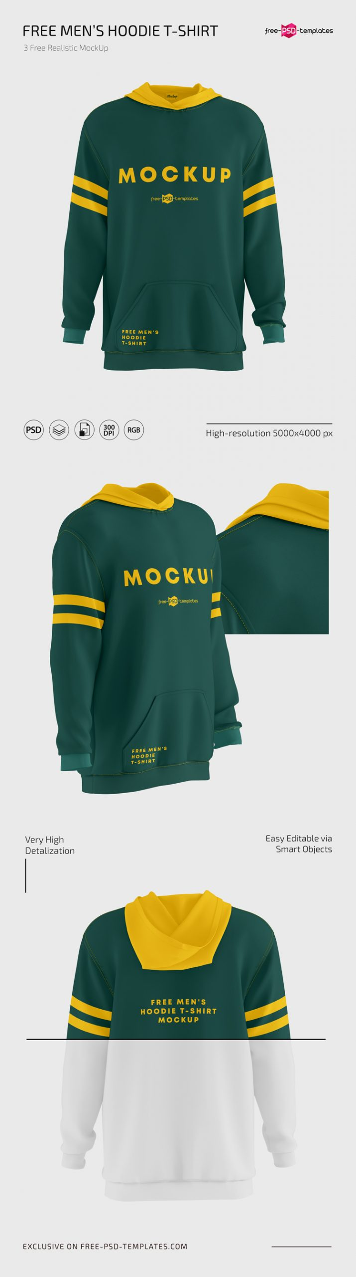 Download Free Men's Hoodie T-shirt Mockups in PSD | Free PSD Templates