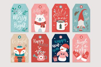 Free Christmas label set Template in PSD + Vector (.ai+.eps)