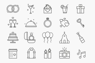 Free wedding Icons set Template in PSD + Vector (.ai+.eps)