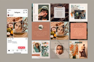 Free Autumn Mood Instagram Posts Template in PSD