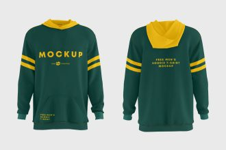 Free Men's Hoodie T-shirt Mockups in PSD