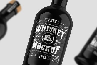 Free Whiskey Bottle with Box Mockups in PSD