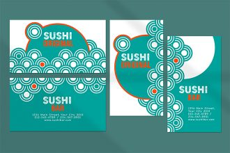 Free Sushi Bar business card Template in PSD + Vector (.ai, .eps)