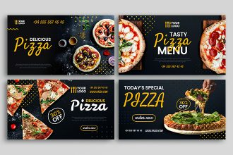 Free Pizza Social Media Banners Templates in PSD + Vector (.ai+.eps)