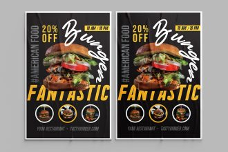 Free Burger poster template in PSD
