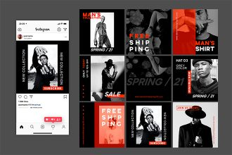 Free Man's collection instagram posts template in PSD