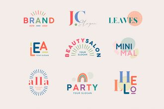 Free multicolored Logo Set Template in PSD + Vector (.ai+.eps)