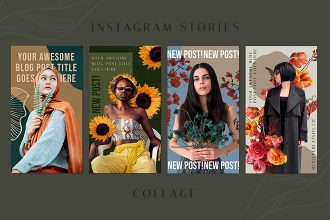 Free Collage Instagram Stories Template in PSD