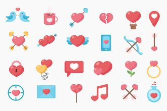 Free Hearts Icons Templates in EPS + PSD