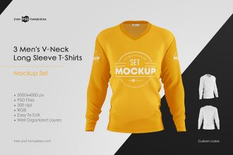 Men's V-Neck Long Sleeve T-Shirts MockUp Set