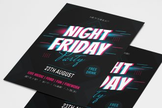 Free Night Friday Flyer Templates in PSD + Vector (.ai+.eps)