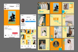 Free Clothes Shop Instagram Posts Template in PSD