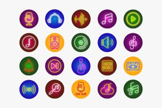 Free Music Icons set Template in PSD + Vector (.ai+.eps)