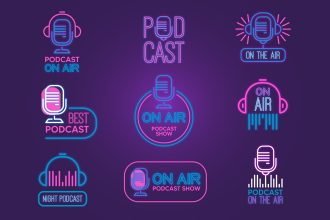 Free Podcast Logo Set Template in PSD + Vector (.ai+.eps)