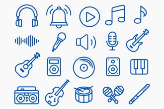 Free Music Icons Templates in EPS + PSD
