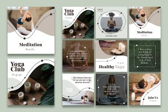 Free Yoga Instagram Posts Set Templates in PSD + Vector (.ai+.eps)