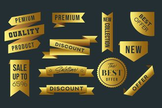 Free Gold Badges Template in PSD + Vector (.ai+.eps)