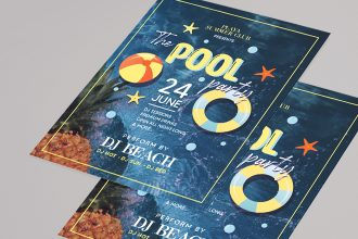 Free Pool Party Flyer Template in PSD + Vector (.ai, .eps)