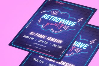 Free Neon Party Flyer in PSD + Vector (.ai, .eps)