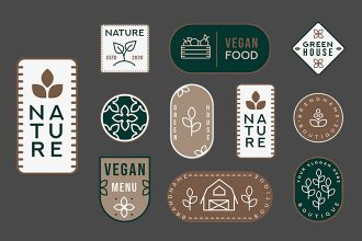 Free Nature Badges set Template in PSD + Vector (.ai+.eps)