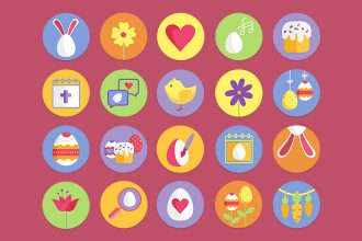 Free Easter Icons set Template in PSD + Vector (.ai+.eps)