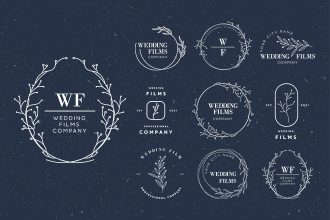Free Wedding Logo Set Template in PSD + Vector (.ai+.eps)