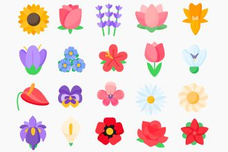 Free Flowers Icons Templates in EPS + PSD