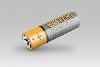 Free PSD Battery Package Template Mockup
