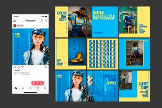 Free creative social media template for Instagram in psd