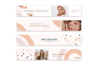 Free Youtube modern banner templates set